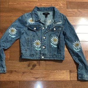$bogo$ Forever 21 daisy jean jacket small women's